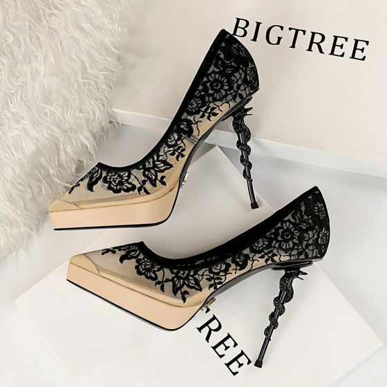 Chic / Beautiful Beige Evening Party Pumps 2019 See-through Lace Flower 12 cm Stiletto Heels Pointed Toe Pumps