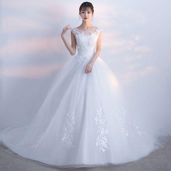 Schöne Weiß Brautkleider 2017 Applikationen Mit Spitze Tülle