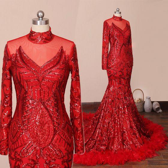 Glitzernden Rot Roter Teppich Abendkleider 2020 Meerjungfrau Durchsichtige Stehkragen Lange Ärmel Pailletten Hof-Schleppe Festliche Kleider