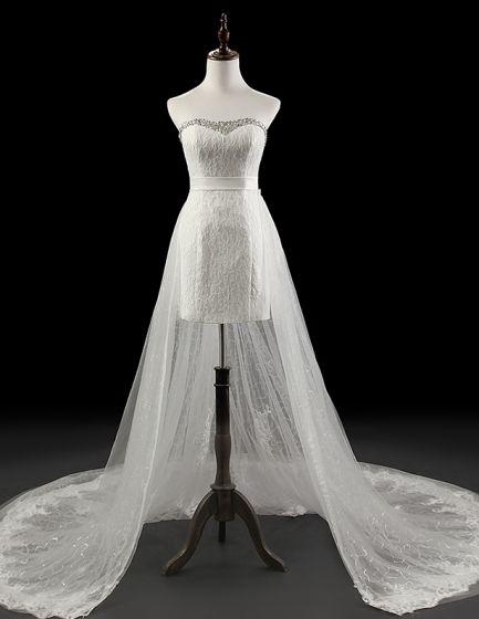 2015 Detachable Short Mini Bridal Gown Lace Wedding Dress