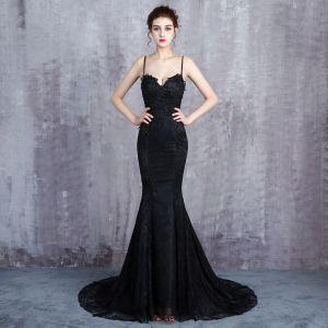 Charming Black Evening Dresses  2019 Trumpet / Mermaid Spaghetti Straps Lace Flower Beading Sequins Sleeveless Backless Court Train Formal Dresses