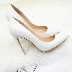 Modest / Simple White PU Street Wear Pumps 2020 12 cm Stiletto Heels Pointed Toe Pumps