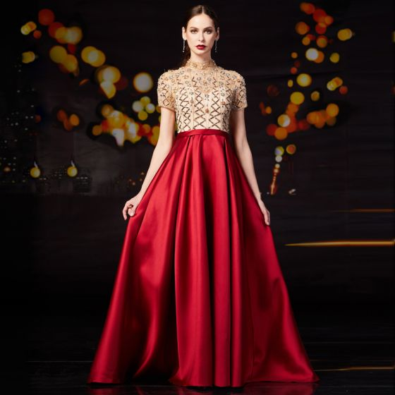 Vintage / Retro Red Satin Prom Dresses 2020 A-Line / Princess See-through High Neck Short Sleeve Beading Rhinestone Sequins Sweep Train Ruffle Formal Dresses