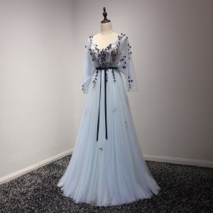 Elegant Sky Blue Prom Dresses 2017 A-Line / Princess Floor-Length / Long Cascading Ruffles V-Neck Long Sleeve Backless Embroidered Appliques Flower Sash Formal Dresses