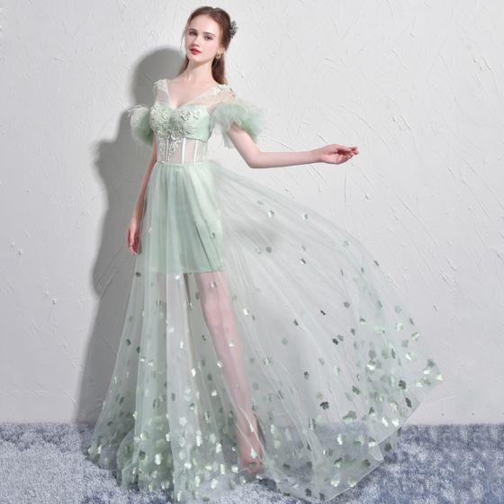 Najpiękniejsze / Ekskluzywne Szałwia Zielony Sukienki Wieczorowe 2017 Princessa V-Szyja Koronkowe Pióro Aplikacje Bez Pleców Frezowanie Wieczorowe Sukienki Wizytowe