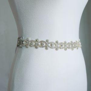Unieke Witte Huwelijk Sjerp 2020 Satijn Metaal Handgemaakt Kralen Rhinestone Avond Gala Accessoires