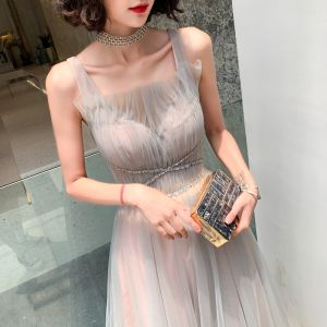 Elegant Pearl Pink Grey Evening Dresses  2019 A-Line / Princess Shoulders Sleeveless Sequins Beading Sash Glitter Tulle Floor-Length / Long Ruffle Backless Formal Dresses
