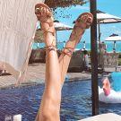 Bohemia Modern / Fashion Brown Outdoor / Garden Womens Sandals Beach Summer Strappy X-Strap Flat Womens Shoes 2019