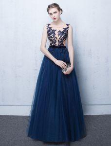 Schönes Abendkleid 2017 Blaue Spitze Langes Festliche Kleid Ärmellos