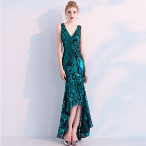 Charming Dark Green Evening Dresses  2019 Trumpet / Mermaid Sequins V-Neck Sleeveless Backless Asymmetrical Formal Dresses