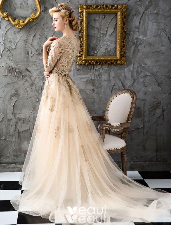 Bohemia Style Evening Dresses 2017 Scoop Neckline Applique Lace Champagne Organza Occasion Dress