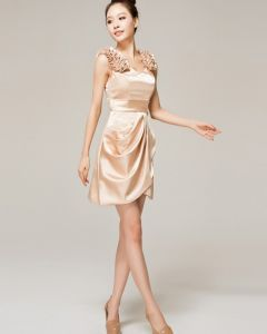 Charmeuse Ruffle V Neck Mini Bridesmaid Dress