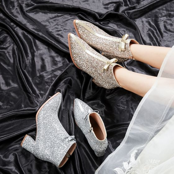 Sparkly Bling Bling Gold Wedding Boots 2020 Glitter Sequins Polyester Ankle Pointed Toe 6 cm Wedding Shoes