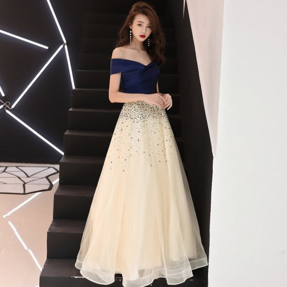 11ffbd925 Elegantes Champán Vestidos de gala 2018 A-Line   Princess Lentejuelas Fuera  Del Hombro Sin Espalda Manga ...