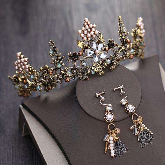 Vintage Barocke Bronze Brautschmuck 2018 Metall Kristall Perle Strass Diadem Ohrringe Brautaccessoires