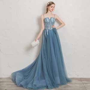 Chic / Beautiful Ocean Blue Evening Dresses  2019 A-Line / Princess Spaghetti Straps Rhinestone Appliques Lace Flower Sleeveless Backless Court Train Formal Dresses