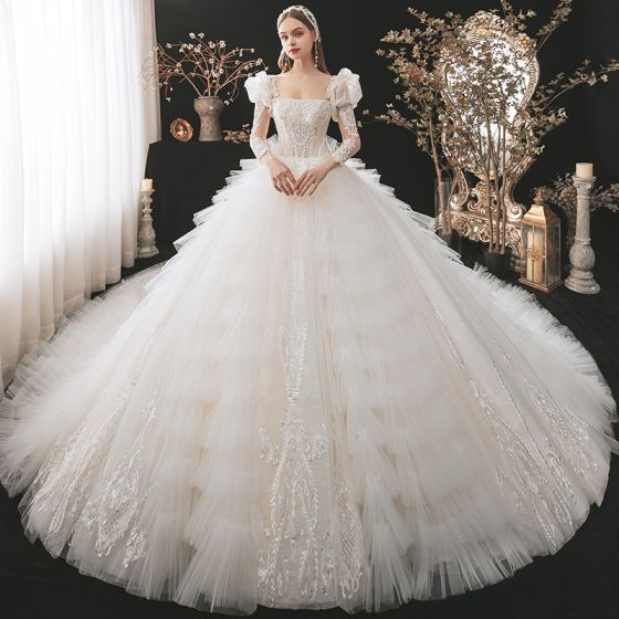 Vintage / Retro Champagne Bridal Wedding Dresses 2021 Ball Gown Square Neckline Detachable Puffy Long Sleeve Backless Appliques Lace Beading Cathedral Train Cascading Ruffles