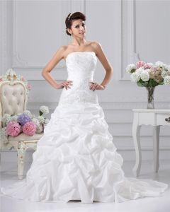 Taft Applikationer Veckad Axelbandslos Sopa A-linje Brudklänningar Bröllopsklänningar