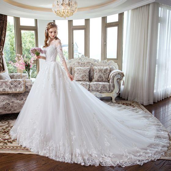 Stylowe Modne Białe Gorset Suknie ślubne 2018 Princessa Aplikacje