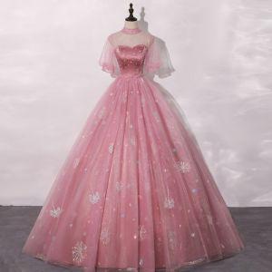 Vintage Pink Ballkleider 2020 Ballkleid Durchsichtige Stehkragen Geschwollenes Kurze Ärmel Strass Applikationen Spitze Pailletten Lange Rüschen Festliche Kleider