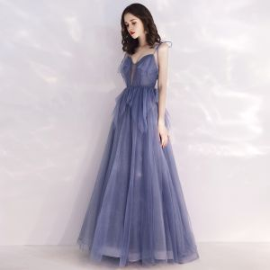 Chic / Beautiful Ocean Blue See-through Evening Dresses  2019 A-Line / Princess Spaghetti Straps Deep V-Neck Sleeveless Beading Glitter Tulle Floor-Length / Long Ruffle Backless Formal Dresses