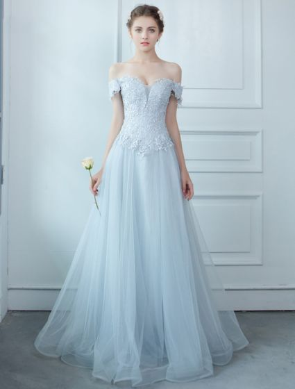 Light Sky Blue Evening Dress