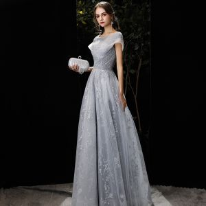 Elegant Grey Evening Dresses  2020 A-Line / Princess Scoop Neck Beading Sequins Lace Flower Short Sleeve Backless Floor-Length / Long Formal Dresses