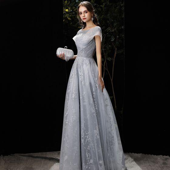 Elegant Grey Evening Dresses  2020 A-Line / Princess Scoop Neck Beading Sequins Lace Flower Short Sleeve Backless Floor-Length / Long Formal Dresses