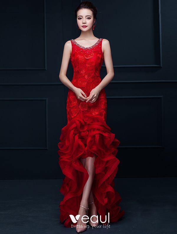 sir ne glamour longue robe de soir e rouge fleur en organza robe de ceremonie avec strass