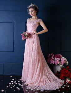Luxe A-ligne Carré Décolleté Perles Perles Soie Dentelle Robe De Soirée Rose
