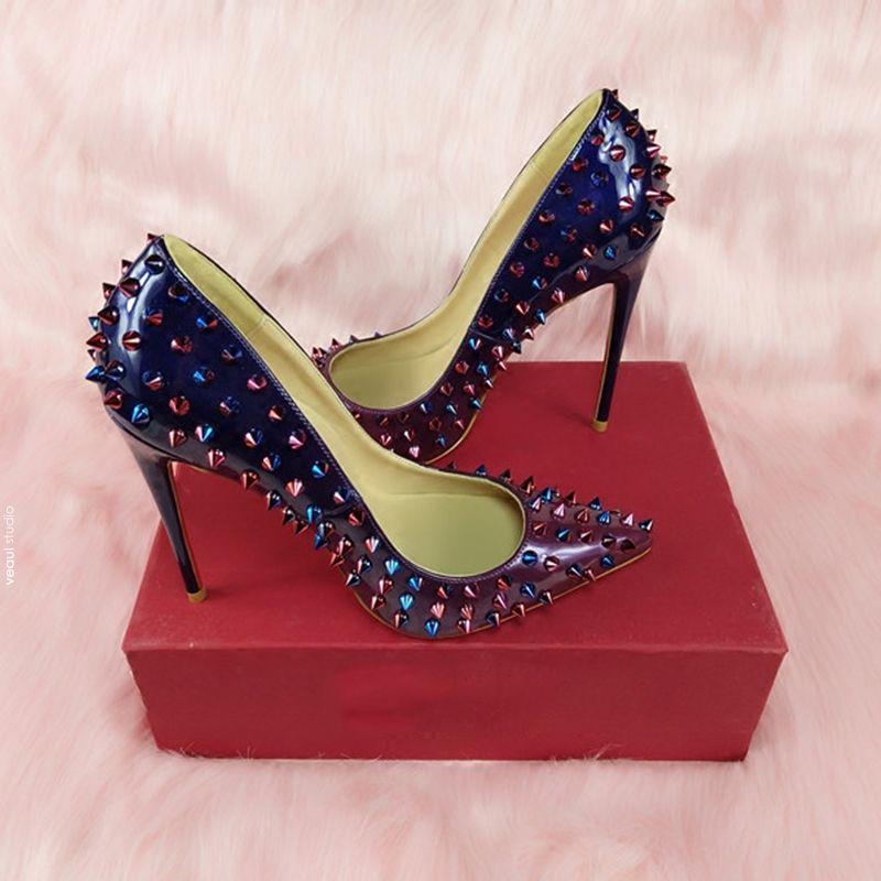 Chic / Beautiful 2017 Purple Beige Evening Party Leatherette Apricot / Beige Rivet High Heels Stiletto Heels 12 cm Pumps