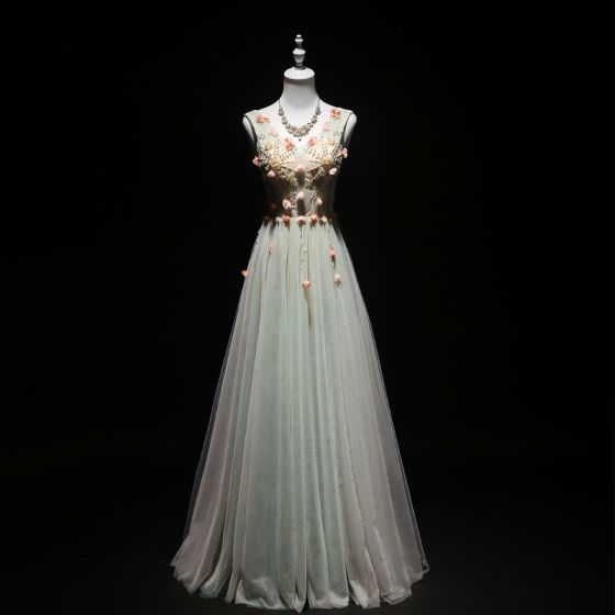 Eleganckie Szałwia Zielony Sukienki Wieczorowe 2019 Princessa V-Szyja Frezowanie Perła Aplikacje Bez Rękawów Bez Pleców Długie Sukienki Wizytowe