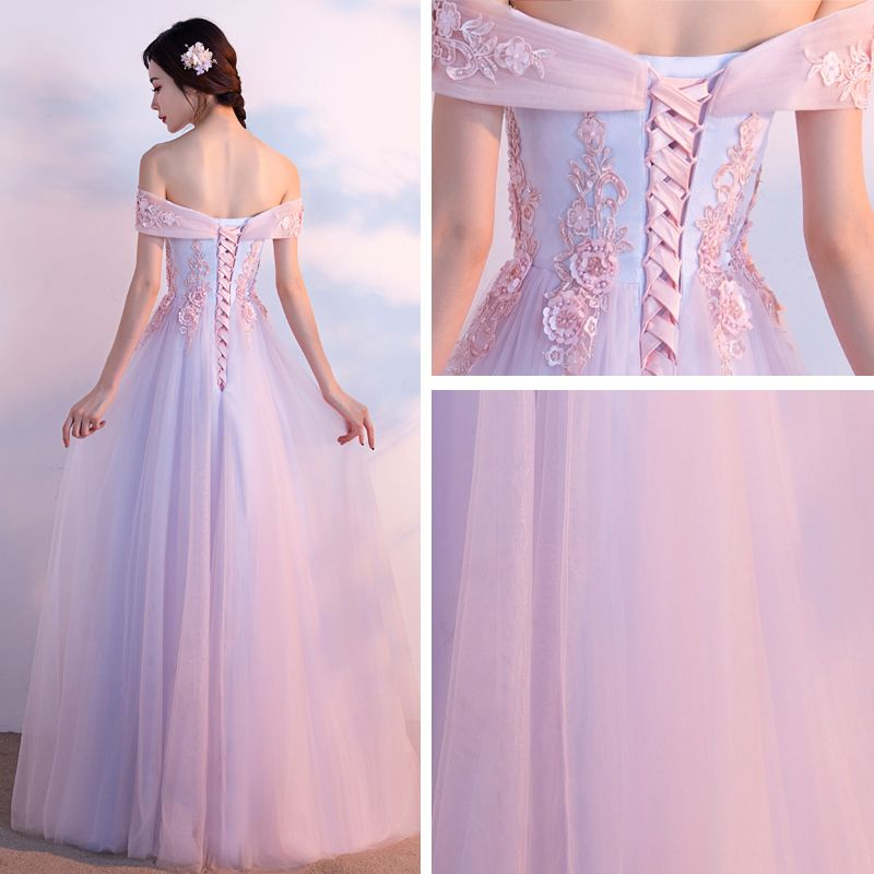Chic / Beautiful Prom Dresses 2017 Blushing Pink A-Line / Princess Floor-Length / Long Off-The-Shoulder Short Sleeve Backless Sequins Pearl Beading Lace Appliques Formal Dresses