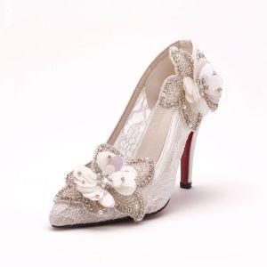 Main Fleurs De Dentelle Blanche Chaussures De Mariée / Chaussures De Mariage / Chaussures Femme