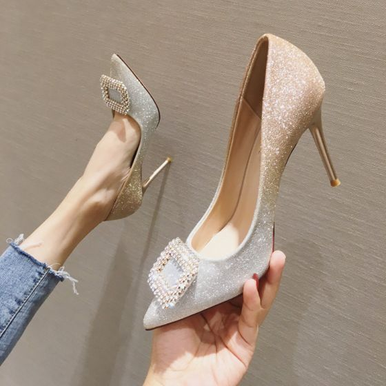 Sparkly Charming Gradient-Color Gold Evening Party Pumps 2020 Rhinestone Sequins 9 cm Stiletto Heels Pointed Toe Pumps