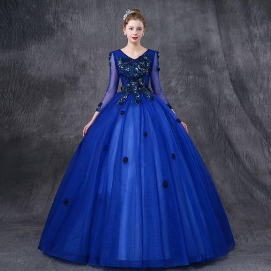 a5b129deb23 Vintage Quinceañera Azul Real Vestidos de gala 2019 Ball Gown V-Cuello Manga  Larga Apliques Con ...