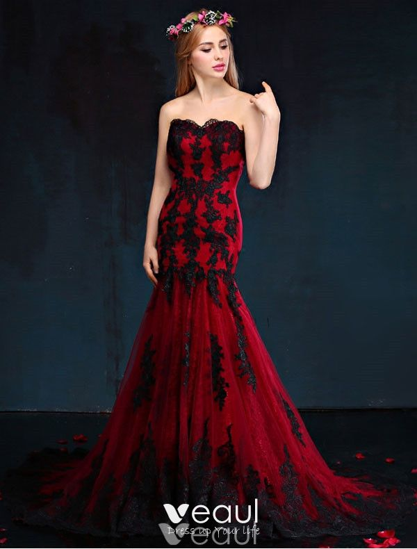 Mermaid Evening Dress 2017 Red And Black