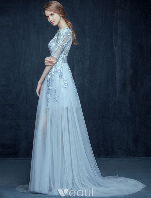 Glamourösen Himmelblau Ballkleider 2016 A-line Spitze Mit Rundhalsausschnitt Applikation Durchbohrt Design Kleid