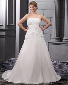 Satin Chiffon Ruffle Embroidery Court Large Size Bridal Gown Wedding Dress
