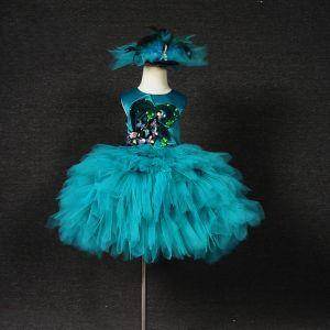 Chic / Belle Vert Jade Anniversaire Robe Ceremonie Fille 2020 Robe Boule Encolure Dégagée Sans Manches Appliques Paillettes Courte Volants en Cascade Robe Pour Mariage