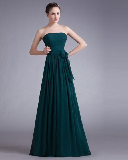 Chiffon Bow Sweetheart Floor Length Pleated Bridesmaid Dress