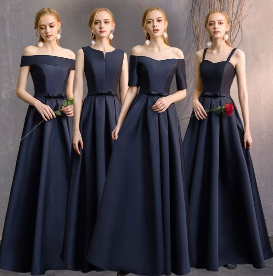 Modest / Simple Navy Blue A-Line / Princess Bridesmaid Dresses 2019 Bow Backless Floor-Length / Long Wedding Party Dresses