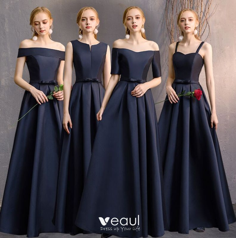 Modest Simple Navy Blue A Line Princess Bridesmaid Dresses 2019 Bow Backless Floor Length Long Wedding Party
