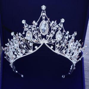 Schöne Silber Diadem Metall Perlenstickerei Kristall Strass Haarschmuck Braut  2019
