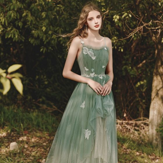 Elegant Sage Green Evening Dresses  2020 A-Line / Princess Shoulders Sleeveless Butterfly Appliques Lace Glitter Tulle Floor-Length / Long Ruffle Backless Formal Dresses