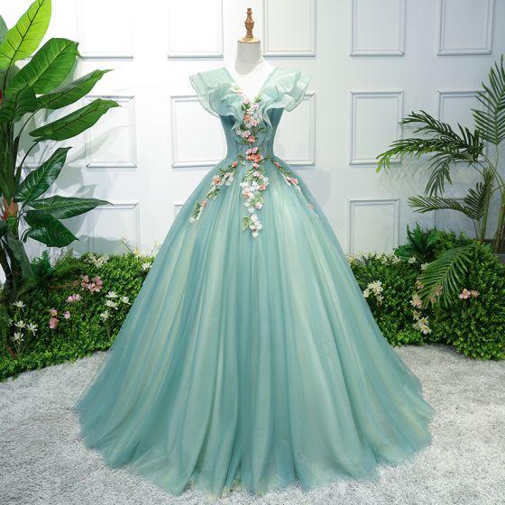 Blumenfee Grün Ballkleider 2018 Ballkleid Applikationen V-Ausschnitt Rückenfreies Ärmellos Lange Festliche Kleider