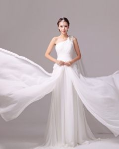 Elegantes Volantes Sólidos Partida De Un Hombro Charmeuse Un Vestido De Novia De Línea A