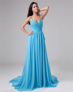 V-ausschnitt A-linie Chiffon Empire-taille Designer Abendkleid Nsb-023