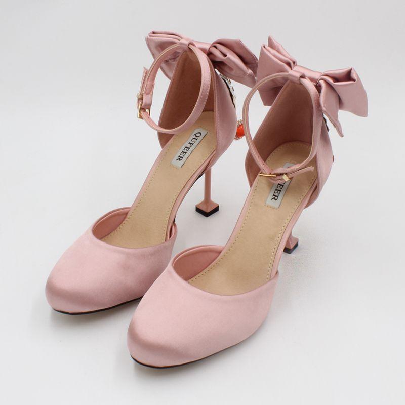 Elegant 2017 8 cm / 3 inch Black Pearl Pink Evening Party Pearl Pink PU Crystal Rhinestone High Heels Stiletto Heels Pumps Wedding Shoes