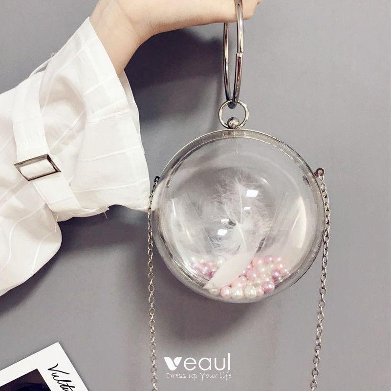 a4f283df02310 Unique Silber Durchsichtige Metall PVC Clutch Tasche 2018